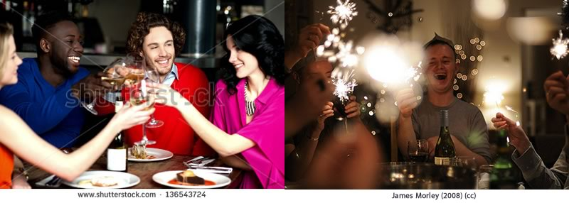 Two dinner party images. Left image is from shutterstock. Right image is from James Morley's Flickr under Creative Commons