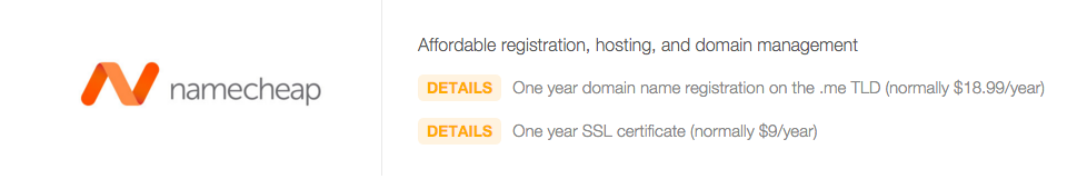 Domain Name under the GitHub Education Pack from NameCheap