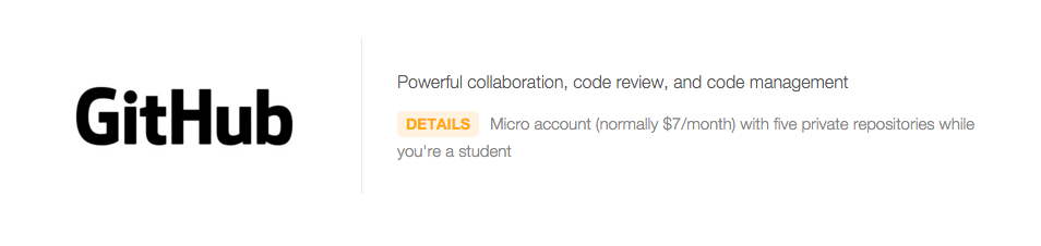 GitHub micro account under the Student Pack