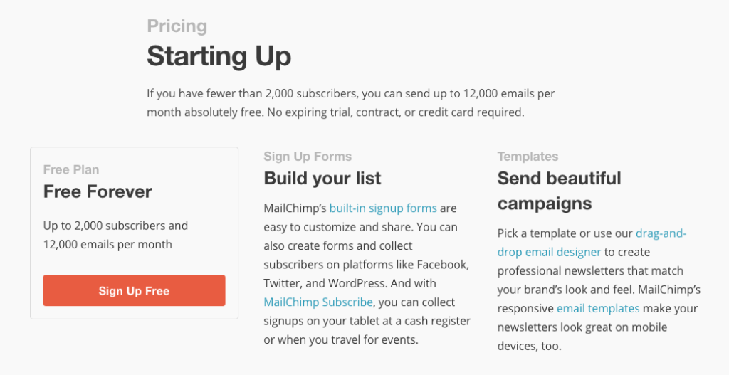 MailChimp Plan for Entrepreneurs