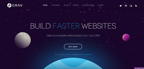 Screenshot of the Grave website