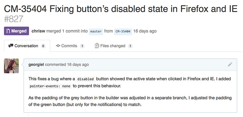 An example of a pull request with enough, but not too much, detail