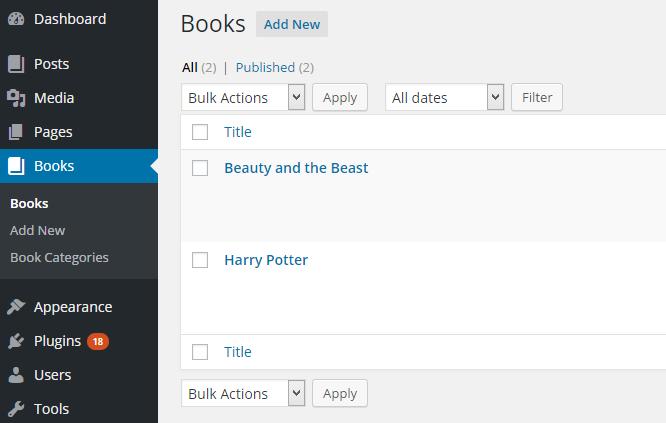 Books Custom Post Type