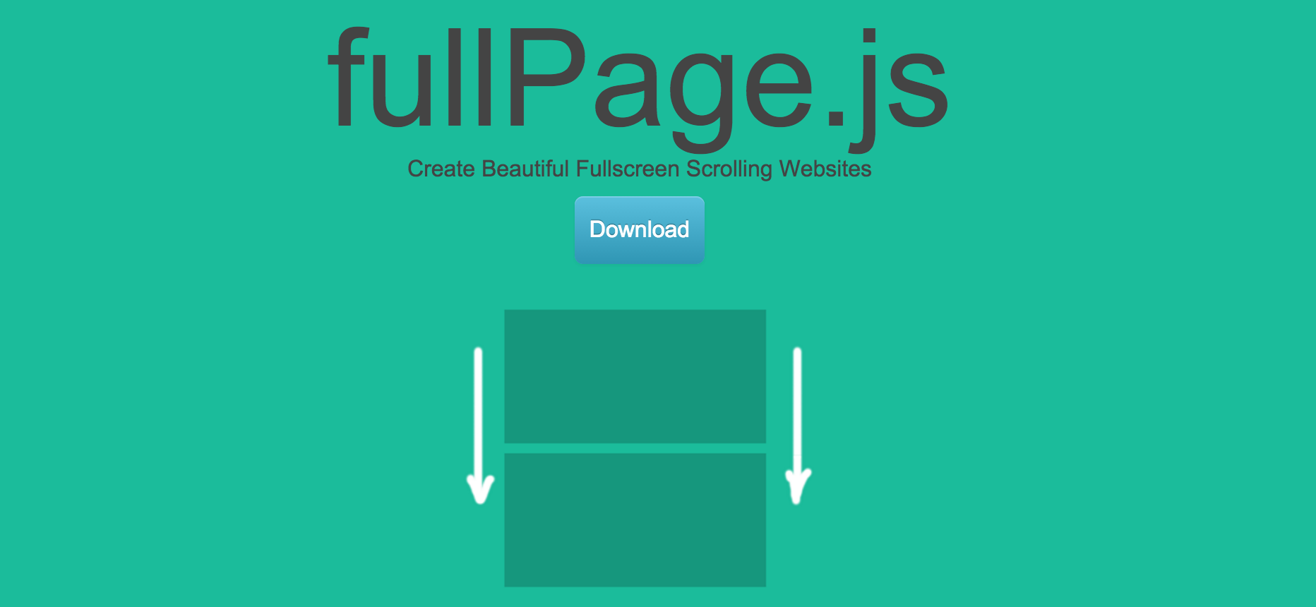 Homepage screenshot for fullPage.js