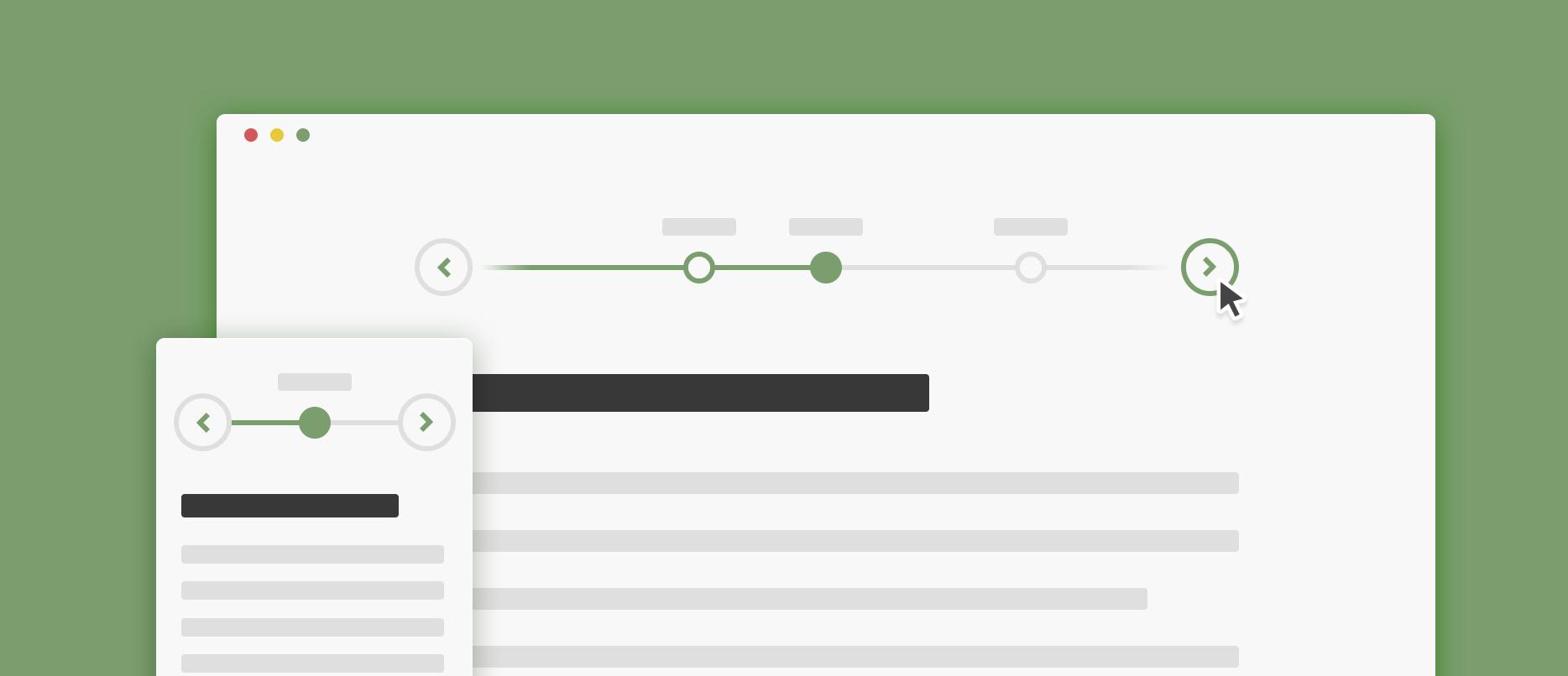 Mock-up of timeline screen
