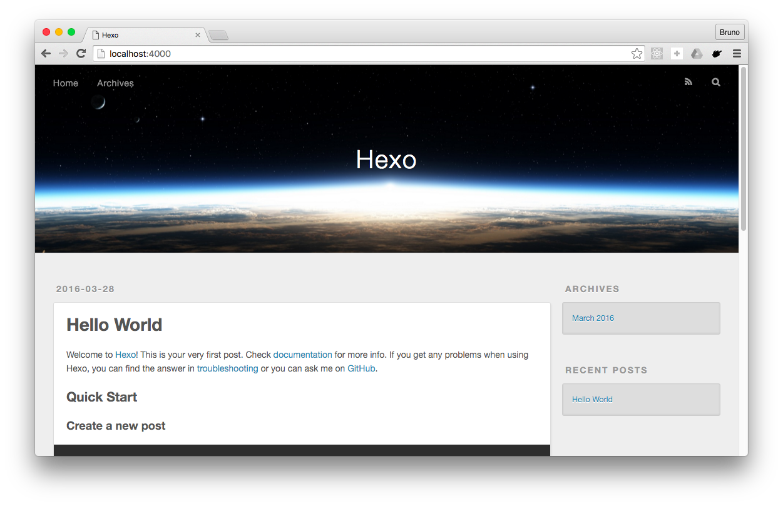 Hexo initial state