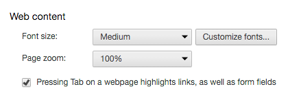 Font size setting in Google Chrome