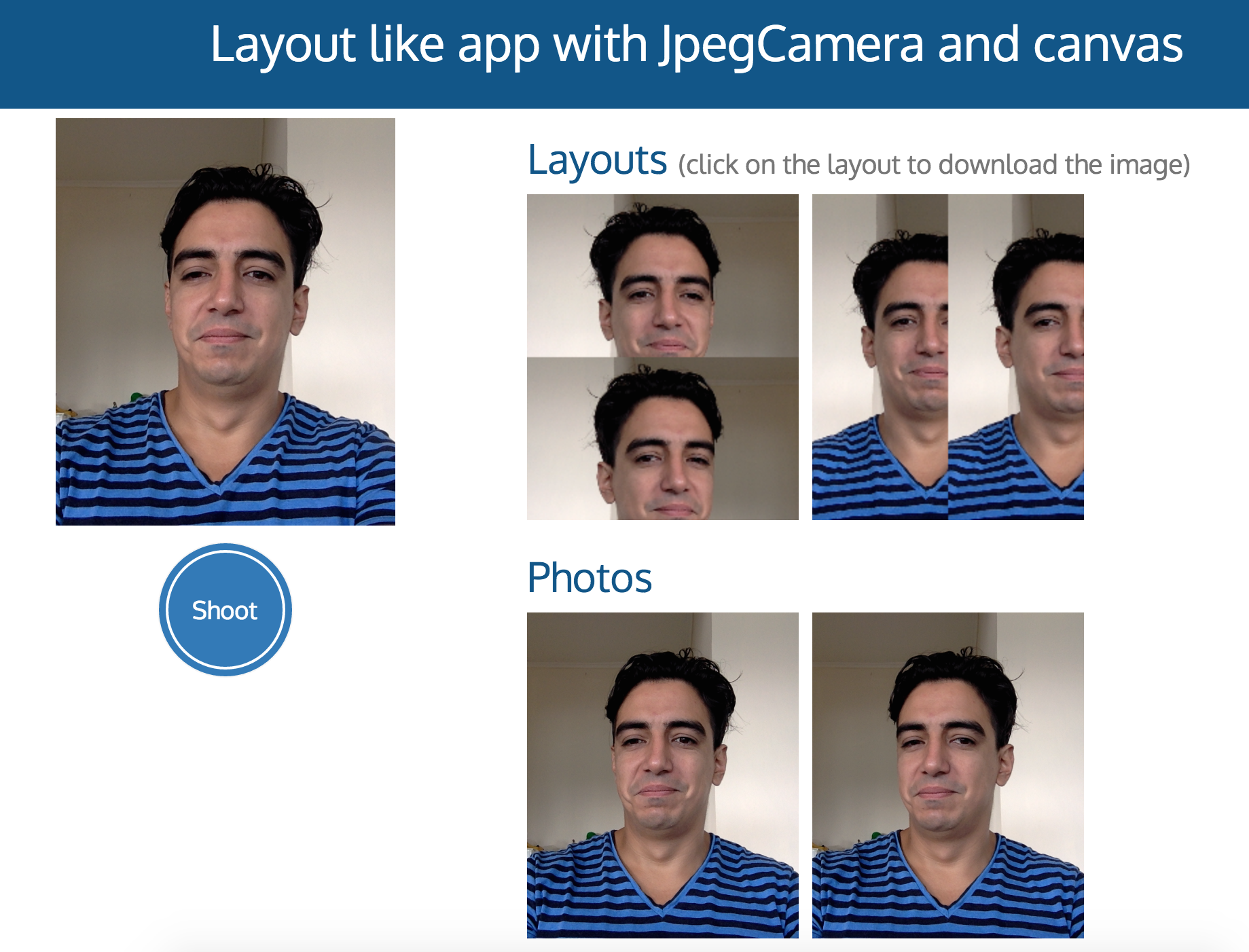 Screenshot of the Layout-like app using JpegCamera and Canvas.