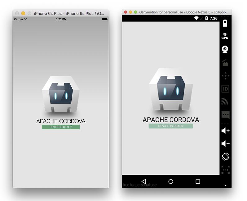 Cordova Apps Running