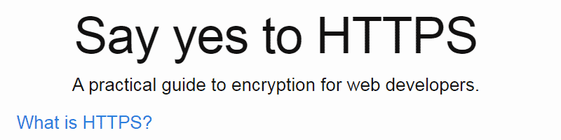 Say Yes to HTTPS