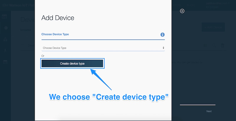 Choosing create device type