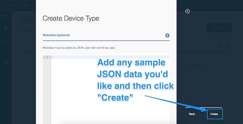 We could add sample JSON data for our device type