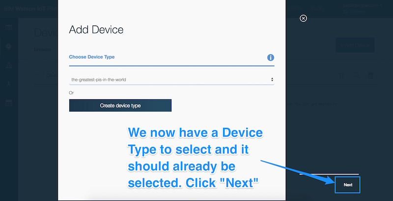 Selecting a device type if not selected and clicking next