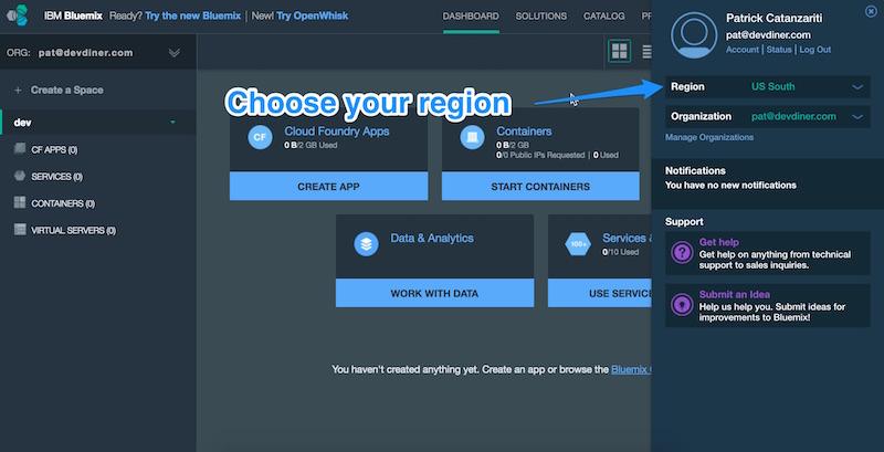 Choosing a region