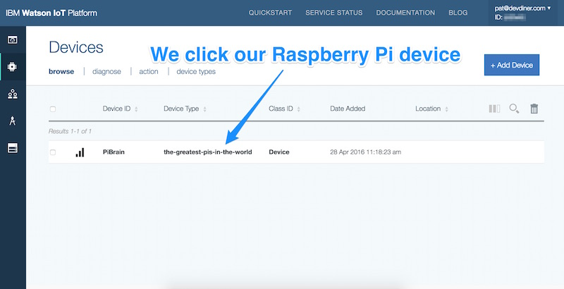 Clicking our Raspberry Pi device