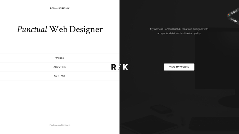 Split-screen site design by Roman Kirichik