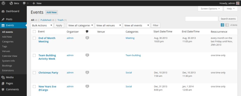 Event Organiser plugin