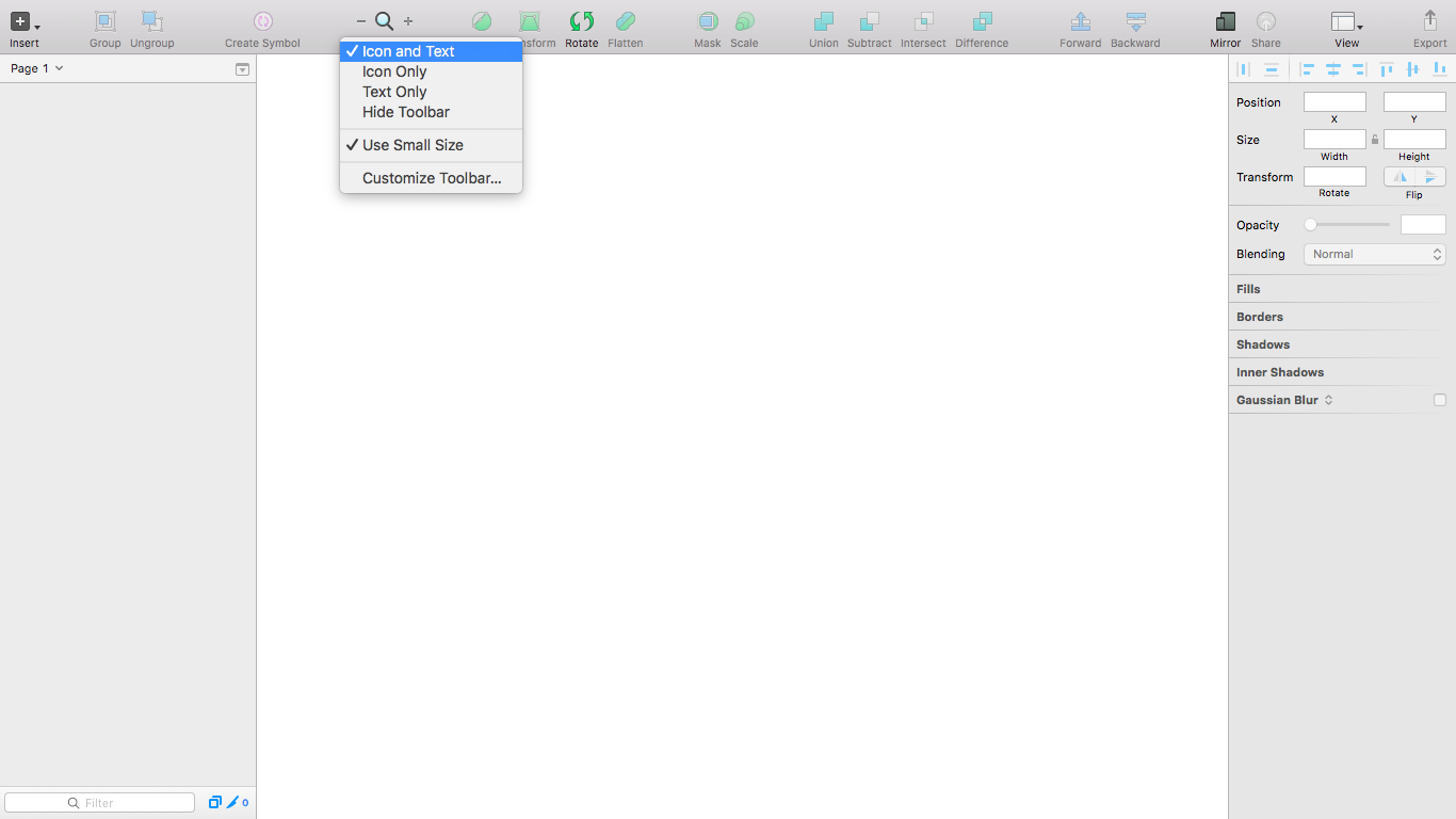 Different context menu options available from the toolbar