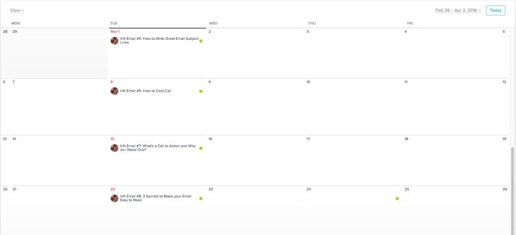 Content Schedule Calendar