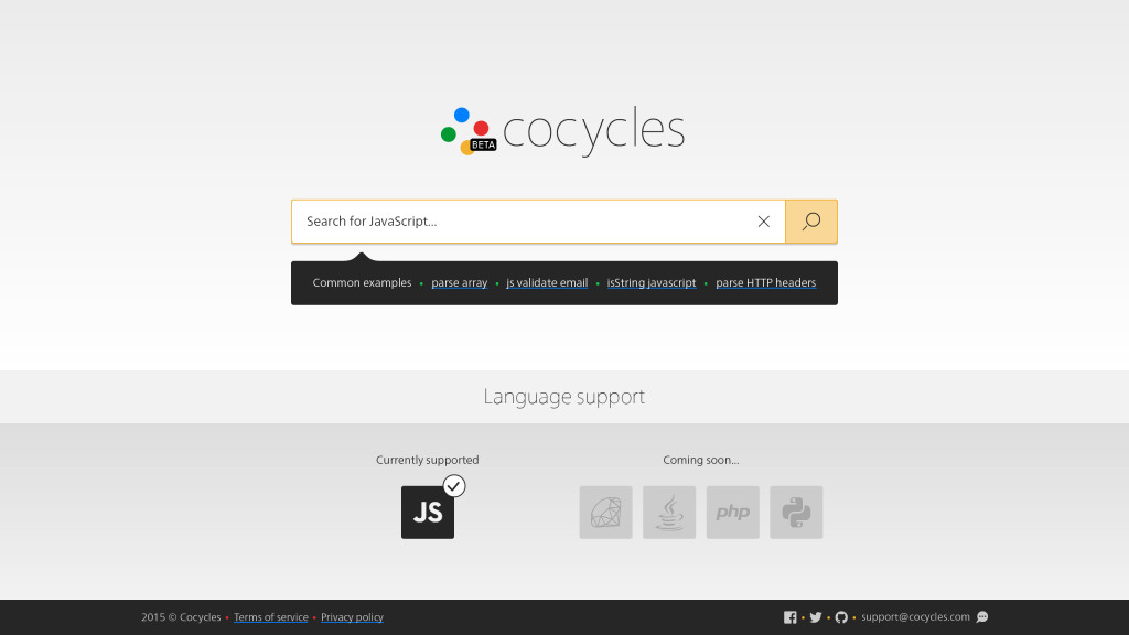 Cocycles search interface