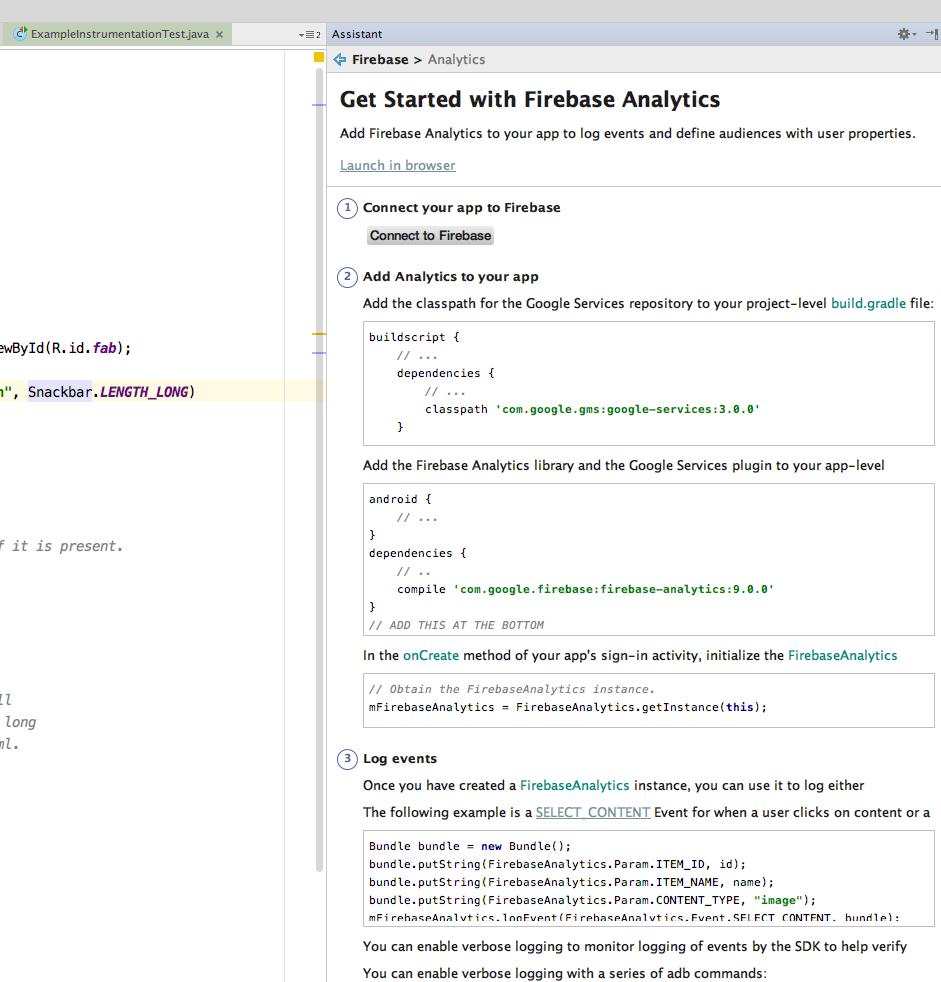 Android Studio Firebase plugin