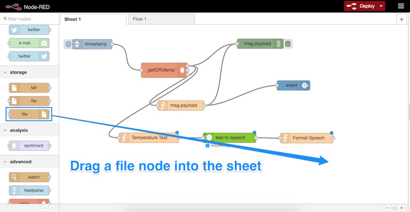 Drag a file node into the sheet