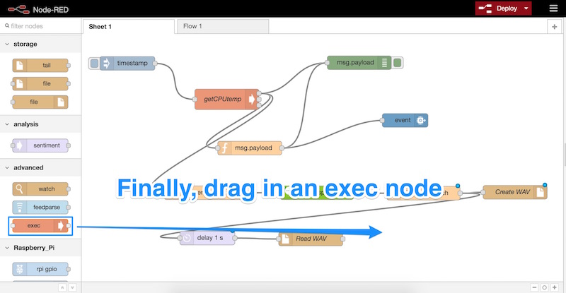 Dragging in an exec node