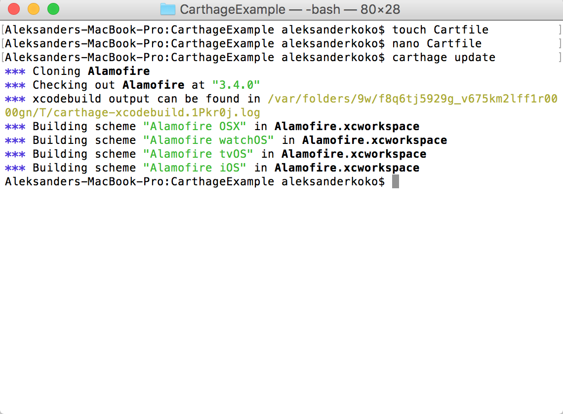 Installing dependencies using Carthage