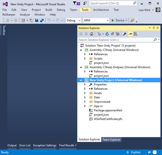 New Universal Windows Unity Project in Visual Studio
