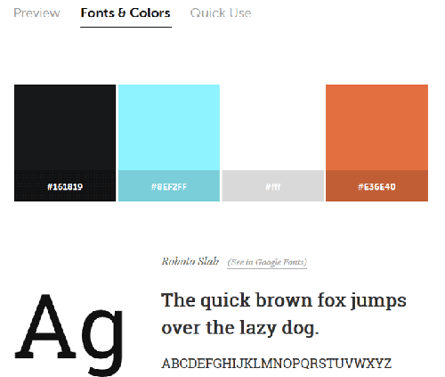 Fonts and colors screen on Typespiration website.