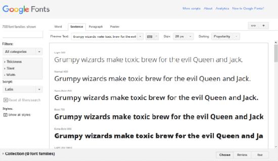 Google Fonts main screen