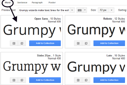 Preview of single word on Google Fonts website.