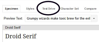 Test Drive option on Google Fonts website
