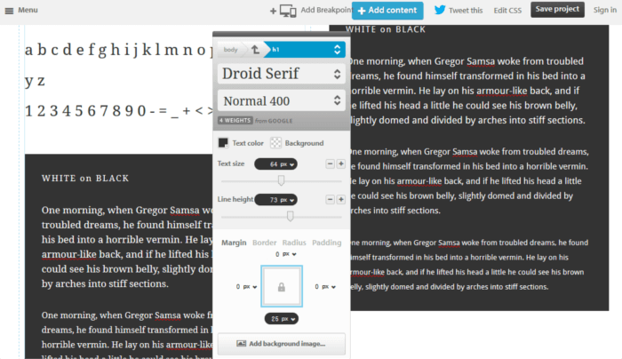Interactive prototyping tool on Typecast website
