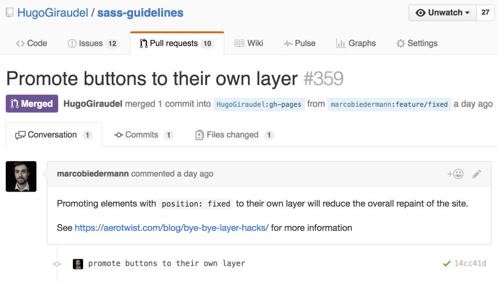 An example of a merged pull request on the Sass Guidelines repository on GitHub