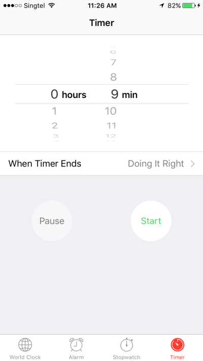 iOS Apple Clock text and UI elements filled in