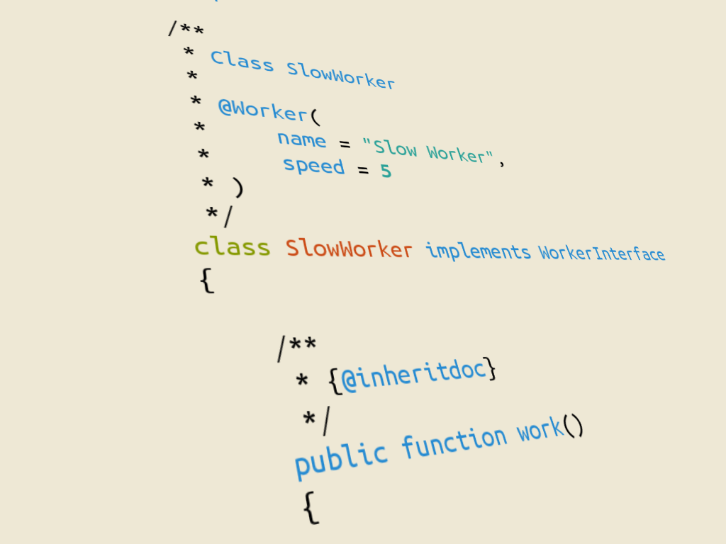 Snippet of code with custom annotations