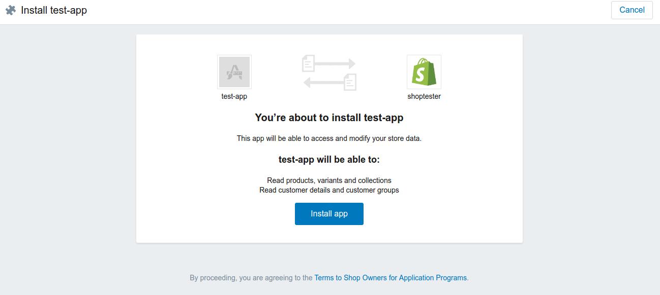 install test app