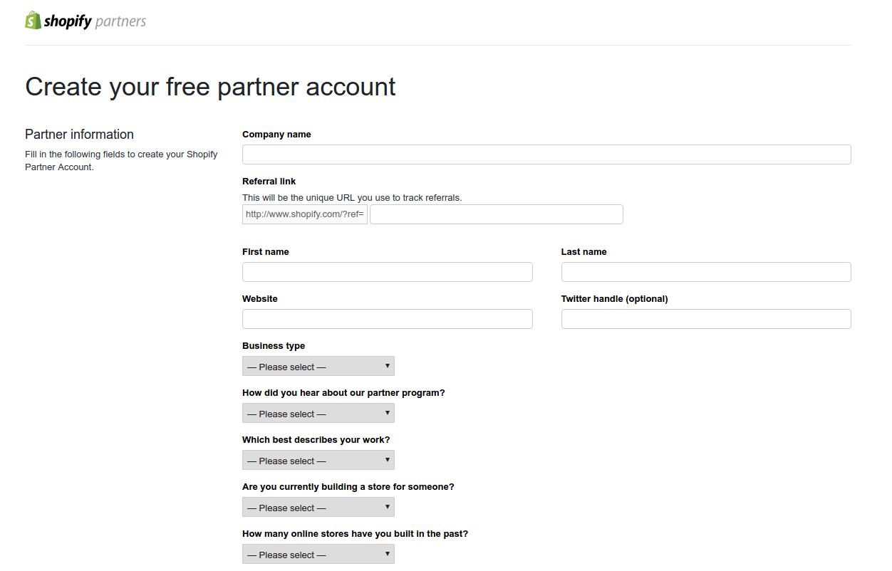 Shopify Partner Signup