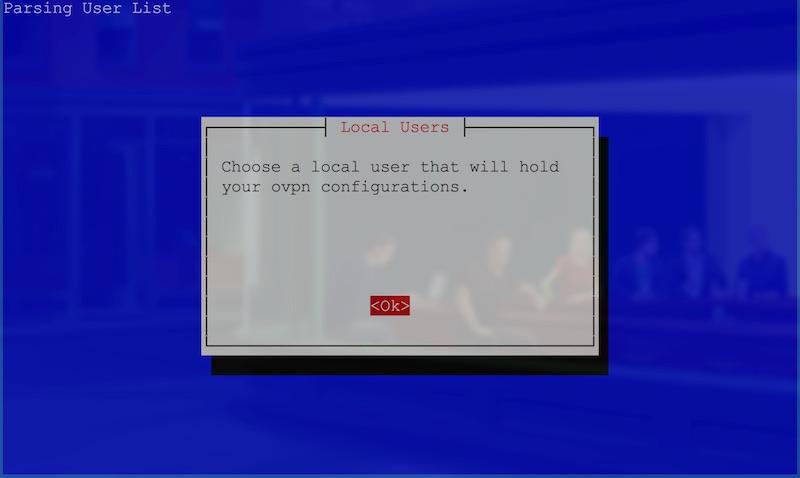 User selection start screen