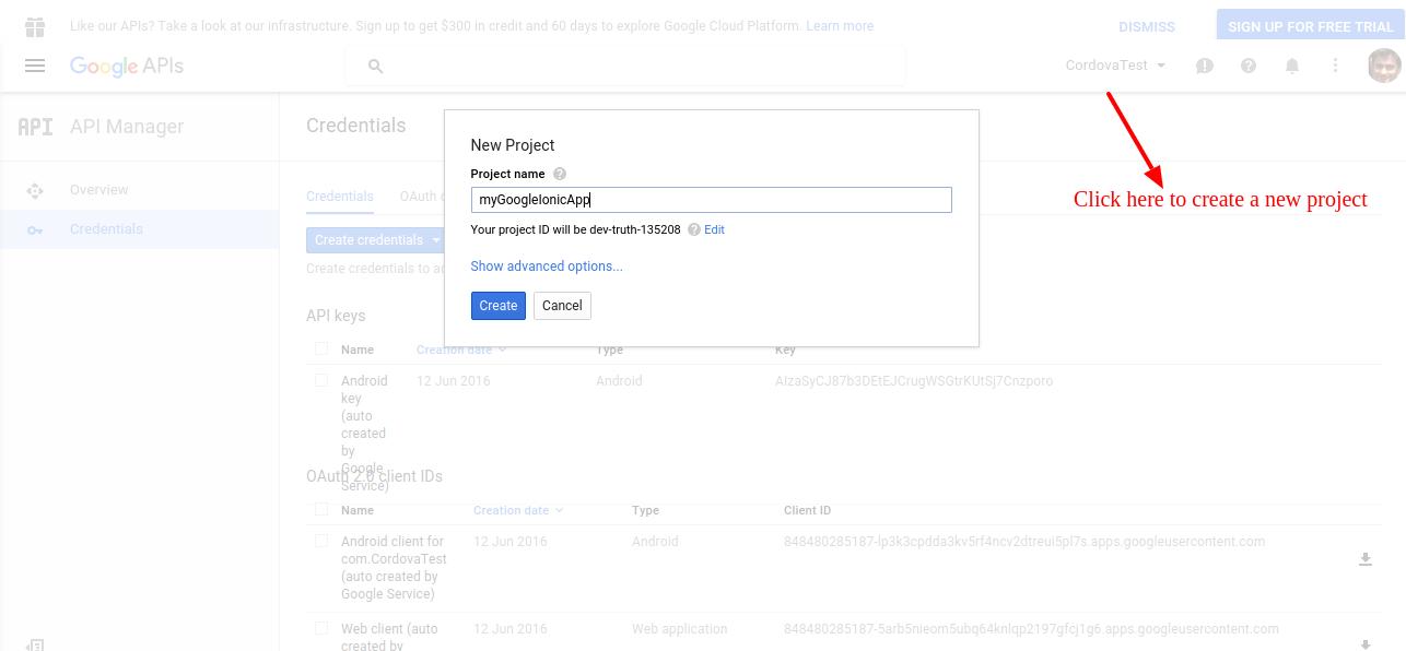 Create new project Google Developer Console