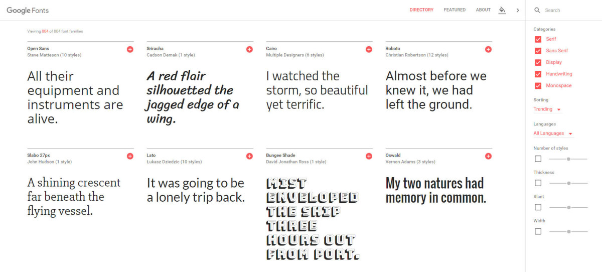 Google fonts applying Material design