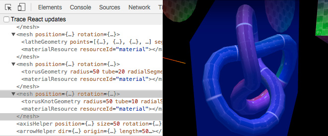 Debugging a scene using react-three-renderer and React devtools