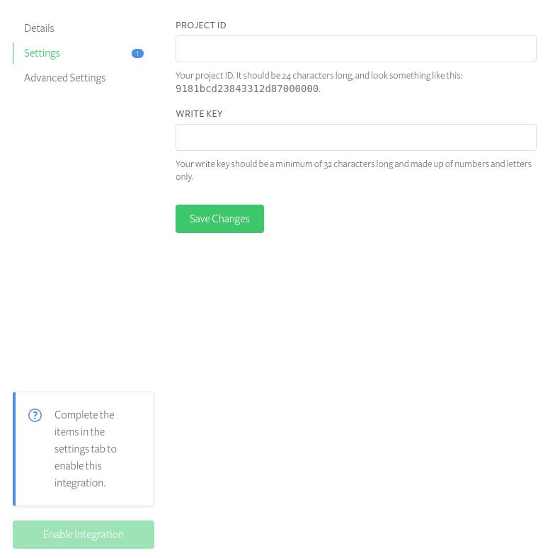 Keen.io integration settings