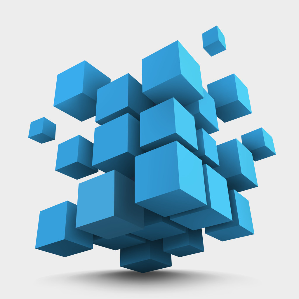 Abstract image of blocks coming together