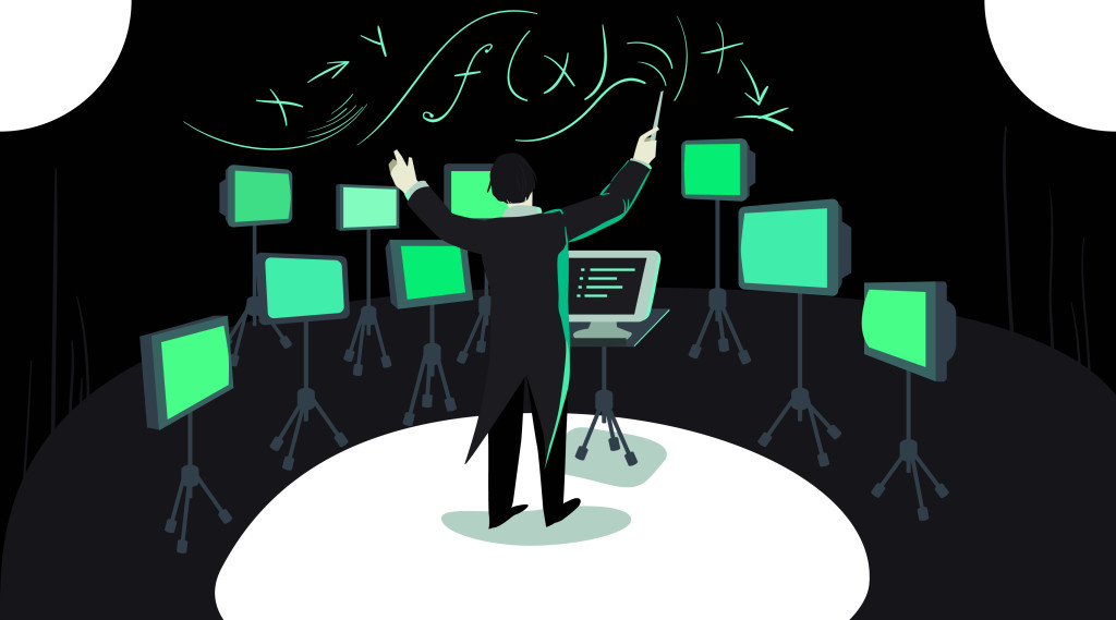 Image of a conductor in front of glowing screens of code