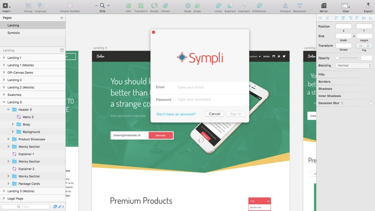 Logging-in to Sympli from Sketch