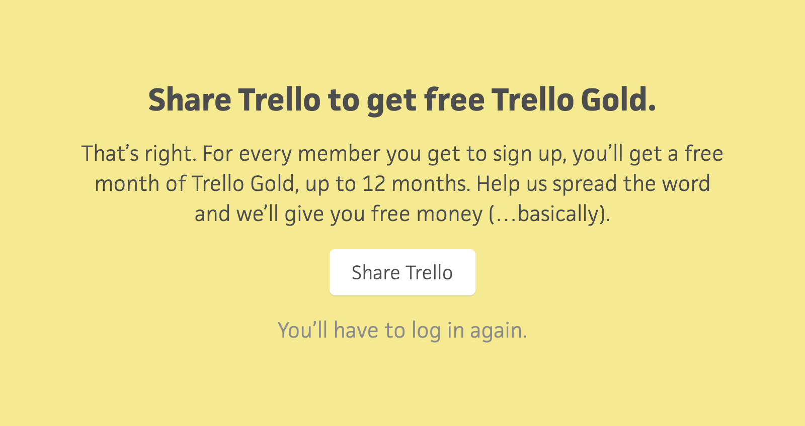 Share Trello to get free Trello Gold