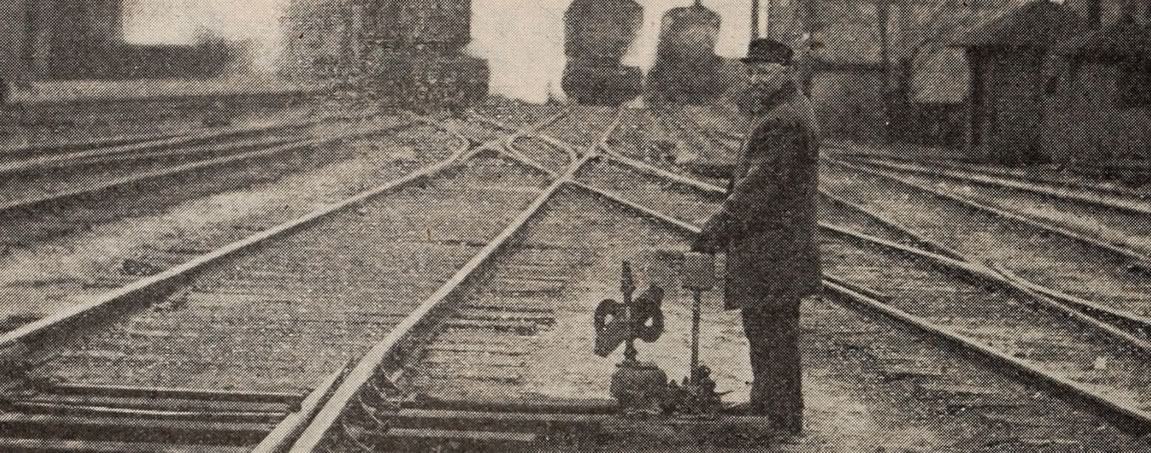 Vintage photo of a railway signalman.