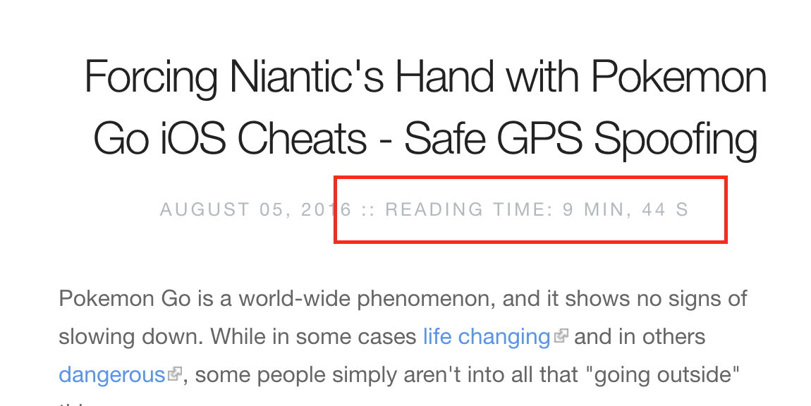 Reading time verbose